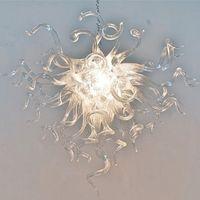 램프 핸드 블로운 유리 펜던트 조명 아트 데코 현대 LED 샹들리에 침실 홈 장식 램프 맑은 색상 우아한 결혼식 전등