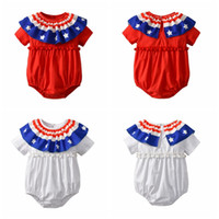 Baby Girls Rompers American Flag Printed Infant Jumpsuits Sh...