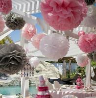 29 kolorów dostępnych !! Papier PonPon Rose Ball Garlands Party Dekoracje 12 cali (30 cm) 12 sztuk / partia Tkanka Pomarańczowy Papier Pom Poms