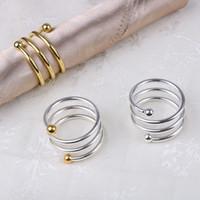 Servilletero boda del resorte del metal del diseño especial los anillos de oro servilleta de mesa de la cocina servilleta titular del partido de cena de Navidad Decoración VT0312