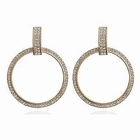 New Silver Gold Color White CZ Zircon Big Circle Earrings Fo...