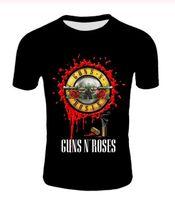 Yeni Moda Punk Tişörtlü Guns N Roses Tişört Erkek Siyah Tişört Ağır Metal 3D Gun Gül Elbise Hip Hop Tees yazdır Tops