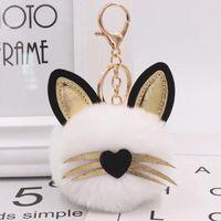 Jewelry 10pcs / Lot di modo delle ragazze di Keychains gatto sveglio con le orecchie pelle Portachiavi Fluffy Ciondolo per le donne Borse Decoration auto