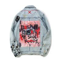 Graffiti apliques Hip Hop Jeans Jacket Men 2020 lavagem Outono materiais Denim blazers para homens ocasionais dos revestimentos