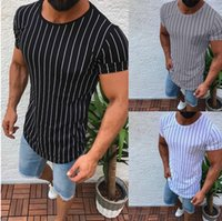 Fashion Men Slim Fit O Neck Short Sleeve Muscle Tee Shirts C...