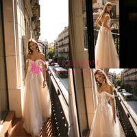 2020 Nova Berta Boho nupcial Dresses A Linha fora do ombro do casamento Vestidos Lace Backless vestidos de casamento personalizado 94