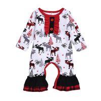 Outono Primavera meninas de algodão vestido Crianças Roupa veados impressão Natal da manta manga comprida vestidos Baby Girl Kid Ruffles jumpsuit
