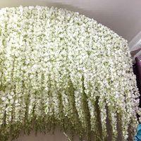 120CM طويل الوستارية الزهور القش الكرمة لحضور حفل زفاف القوس الديكور حزب أبيض الزهور الكرمة الاصطناعي فلوريس جارلاند اكليل T191029