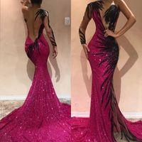 2020 un hombro de las lentejuelas del partido apliques de la manga de la sirena de la celebridad reflectante vestidos de baile de tul largo del cordón de los vestidos de noche BC0468
