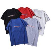 19SS роскошный мужской дизайнер футболка высокое качество мужчин женщин пары случайные с короткими рукавами с круглым вырезом 5 цветов