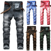 2018 New Fashion Men' s Casual Jeans Pants Slim Skinny S...