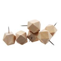 Pins géométriques décoratifs en bois Push, Tête bois et point d'aiguille en acier pouce Tacks pour Photos, Cartes et conseils de Cork