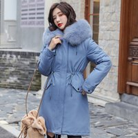 Women's Down & Parkas Womn Slim Winter Jacket Hooded Coat Causal Long Thick Warm Fur Collar Zipper Cotton Padded Solid Female Coats