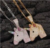 HIP HOP ILED OUT DE LA LICCORN Pendentif Collier Bling Diamant Corde Chaîne de la corde Mode Licorne Animal Rapper Accessoires