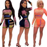 2020 Frauen Herbst Sommer Geometric reizvolle dünne Jumpsuits Street beiläufige Bodycon Playsuit Sheer Bodysuits Mesh-See Through Strampler
