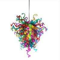 Lampade Tiffany Lampade a LED Plafoniere Fan della casa Decorative Edison Bulbs Murano Vetro colorato Chian Chandelier Light