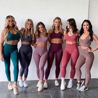 سلس رياضة مجموعة امرأة الرياضية 2 قطعة ممارسة طماق مبطن الرياضة برأس النساء اللياقة البدنية ملابس اليوغا مجموعات الرياضة الدعاوى S-L