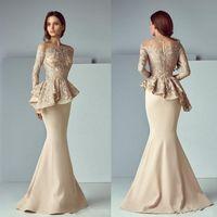 Champagne Lace Mancha Mother Of The Bride Dress Peplum Formal Wear Sereia Vestidos manga comprida Dubai Árabe Prom Vestidos