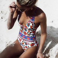 2019 One Piece Print Swimsuit Women Summer Beachwear Swimwea...