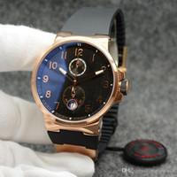 Vente en gros et élégant Noble Montre Homme Chronometer Dual Time Quartz boîtier en or cadran noir extérieur Montres-bracelets Montres Hommes