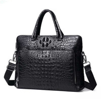 Design Mens Briefcase Genuine Leather Laptop Document Case Fashion Attache Messenger Bag Tote Portfolio Black Crocodile