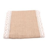 Natural Rustic Burlap Hessian Lace Table Runner Wedding Part...