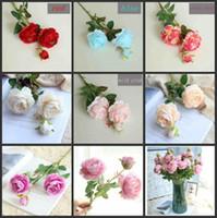3 머리 인조 서양 로즈 라 난큐컴 아름다운 낭만적 인 실크 웨딩 핸드 신부 꽃 꽃다발 장식 홈 호텔에 대한
