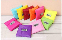 Eco Friendly colorido bolso plegable de almacenamiento utilizable bolsas de la compra de comestibles Nylon portátil bolsa grande reutilizable color puro con el envío rápido
