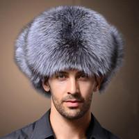 Kulak Flepler Sıcak Kar ile Naiveroo Yüksek Kalite Erkek Sahte Fox Kürk Kış Şapka Lei Feng Şapka Rus Kalınlaşmak Şapka Bombacı Cap Caps