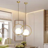Bola de cristal moderna Lámpara colgante Luz colgante de oro negro Luces de iluminación para el hogar Accesorio Suspensión