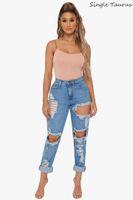 Petit ami Jeans pour femmes taille haute trou évider Ripped Pants Denim Fashion Streetwear Distressed Vaqueros Mujer 2019 été