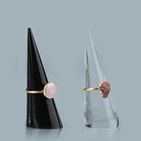 Moda al por mayor 60 piezas de acrílico dedo Cono de anillo soporte de exhibición de la joyería Titular caso de demostración del organizador del anillo soporte de exhibición de la nueva llegada