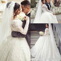 Elegant A Line Wedding Dresses Crew Neck Full Lace Applique ...
