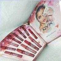Yeni Makyaj NYX mat dudak parlatıcısı nyx Rujlar 12pcs seti 12 renk Dudak Liquid ruj Kozmetik hediye Su geçirmez Noel