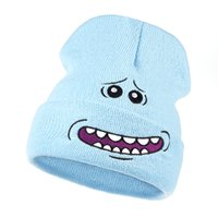 Mr. Meeseeks Cappelli lavorati a maglia Winter Rick and Morty Cappellini animati Warm Cartoon Loveliness Beanie Outdoor Sport Sci knit Cappelli Skullie