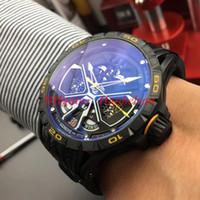 Reloj de lujo erkek saatler RDDBEX0792 İskelet dial RD otomatik seyretmek Spor araba Siyah PVD çelik kasa Gömülü deri lastik bant Uhren