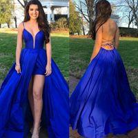 Royal Blue Side Split Backless Abschlussball-Kleider Sheer Tauchen Ansatz Abendkleider plus Größen-Taft eine Linie formales Kleid