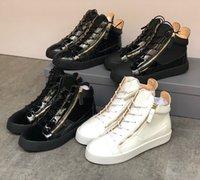 Designer High-top sapatos frankie kriss zipper sneaker para homens e mulheres camurça de couro treinadores lisos moda calçados causais ao ar livre com caixa