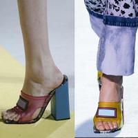 2020 novas mulheres saltos transparentes de PVC sandálias de couro genuíno sapatos extravagantes High Heel Mules Slides chinelo tamanho grande 34-42 euros com caixa de sapatos