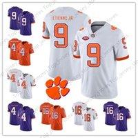 NCAA Клемсон Тигры Белый Оранжевый Фиолетовый 4 Deshaun Уотсон 16 Тревор Лоуренс 9 Travis Этьена младший Вышивания колледж трикотажные изделия футбола