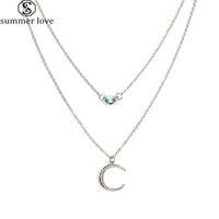 Multi-Layer-Kristall-Halskette Strass Crescent Moon hängende Halskette mit Alloy Silber Gold für Frauen Fsahion Schmuck-Z