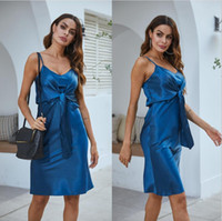 Womens Sexy Silk V- neck Dress Summer Designer Woman Spaghett...