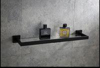 رفوف الحمام الفولاذ المقاوم للصدأ دش جل الزجاج الإطار الأسود الحرة الأظافر بسيطة TowelRack التخزين للصابون الذهب الأسود اللون