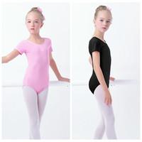 Venta al por mayor verano niños niñas niños gimnasia leotardo algodón spandex manga corta ballet latino baile traje disfraces