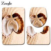 Zeegle Beach Shell Pattern 3Pcs Bathroom Mat Carpet Toilet R...