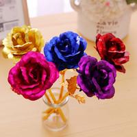 24k Goldfolie überzogene Rose Gold Rose Blumen-Hochzeit prop Golden Rose Dekor-Blumen-Partei artificiales Dekor Valentinstaggeschenk 25cm FFA3554