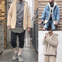 남성 착실히 보내다 스웨터 겨울 후드 따뜻한 코트 재킷 남성 새로운 패션 푹신한 양털 후드 후디 가디건 코트 재킷