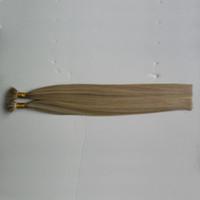 """Бразильские волосы девственницы Nano Ring Hair 100% натуральные человеческие волосы Remy 1 г / с 10 """"12 '16"""" 18 """"20"""" 22 """"24"""" Белокурые европейские микро бисер 100 шт."""