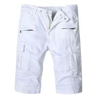 Pantalones cortos de pantalones vaqueros de los hombres superiores del verano 2019, diseñador de moda de color blanco Pantalones vaqueros rasgados para los hombres Pantalones cortos de mezclilla Longitud de la rodilla