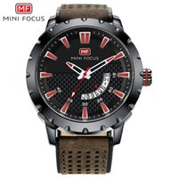MINIFOCUS Military Men Leather Strap Watch Auto Date Militar...